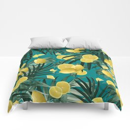 Summer Lemon Twist Jungle #5 #tropical #decor #art #society6 Comforters