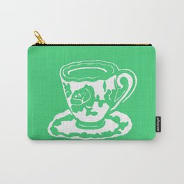 Green Rose Teacup Printmaking Art Carry-All Pouch