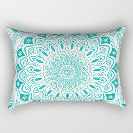 White Mandala on Blue Green Distressed Background with Detail and Textured Rectangular Pillow