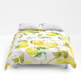 Watercolor lemons Comforters