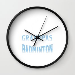Many Grandpa Badminton Players Court Rally Racquet Racket Shuttlecock Singles Doubles Gift Wall Clock