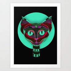 Black CAT- Black Art Print