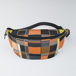 An abstract geometric pattern. Orange , brown ,yellow-cage . Fanny Pack