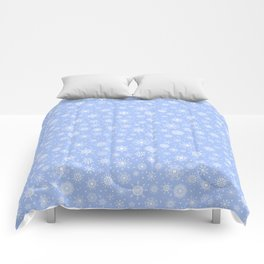 Snowflake white patten on a blue background Comforters