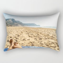 Vacation Time, Woman Relaxing On Beach, Beautiful Woman, Travel Photo, Ocean Beach In Portugal Rectangular Pillow