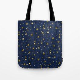 Golden Stars on Blue Background Tote Bag