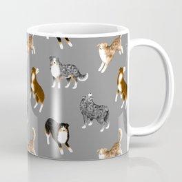 Australian Shepherd Pattern (Gray Background) Coffee Mug