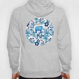 Blush Pink, White and Blue Elephant and Floral Watercolor Pattern Hoody