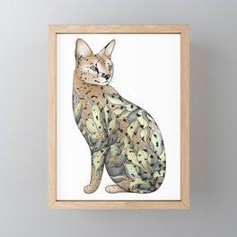 Serval Cat in Lotus Flower Tattoo Framed Mini Art Print