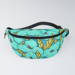 Blue Puya, Floral Pattern, turqouise, teal and yellow Fanny Pack
