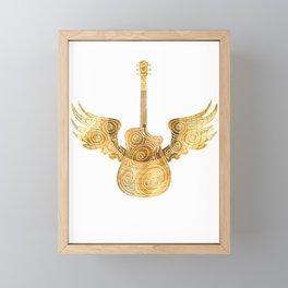 Golden guitar for golden records Framed Mini Art Print