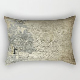 Antique Vintage Grunge Floral Grey Rectangular Pillow