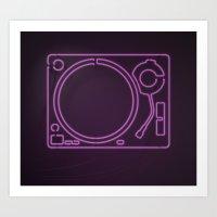 Neon Turntable 1 - 3D Art Art Print
