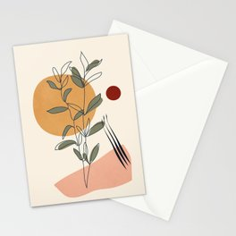 Minimal Line Young Leaves Stationery Cards