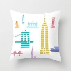 New York Skyline White Throw Pillow