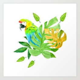 Parrot with Tropical Leaves Art Print