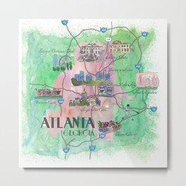 Atlanta Favorite Map with touristic Top Ten Highlights Metal Print