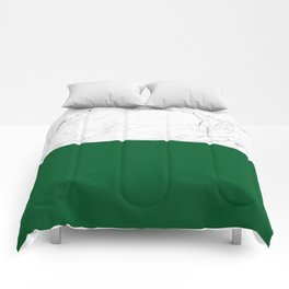 emerald green and white marble Comforters