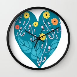 Watercolour dark blue seamless pattern background with whimsical flowers. Wall Clock