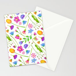 Spring Floral Watercolor Pattern Stationery Cards