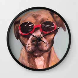 Doggles, the dog who wears goggles Wall Clock