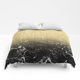 Modern girly luxurious faux gold glitter black marble pattern Comforters