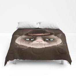 Sad cat Comforters