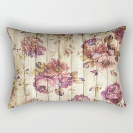 Rustic Vintage Country Floral Wood Romantic Rectangular Pillow