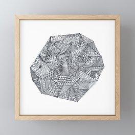 Mandala Gemstone Black and White Framed Mini Art Print