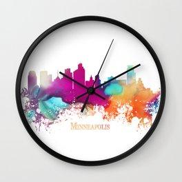 Minneapolis skyline watercolor Wall Clock