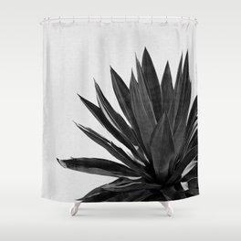 Agave Cactus Black & White Shower Curtain