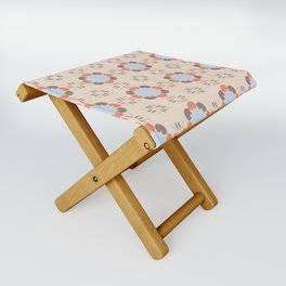 Blue Retro Tile Folding Stool