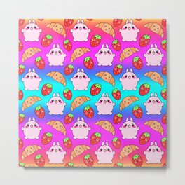 Cute happy funny pink baby bunnies, sweet adorable yummy Kawaii croissants and red ripe summer strawberries cartoon colorful rainbow pattern design Metal Print