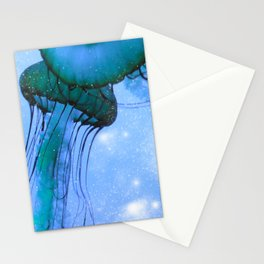 Blue Glow Jelly Fish Stationery Cards