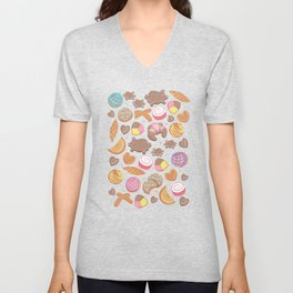 Mexican Sweet Bakery Frenzy // pink background // pastel colors pan dulce Unisex V-Neck