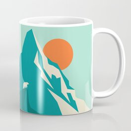 As the sun rises over the peak Coffee Mug
