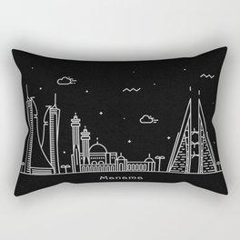 Manama Minimal Nightscape / Skyline Drawing Rectangular Pillow