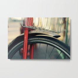 Vintage Red Bicycle with Basket, Close Up Photo Metal Print