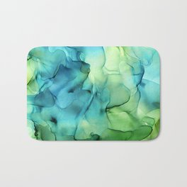Blue Green Spring Marble Abstract Ink Painting Bath Mat