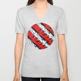 Abstract Red And White Stripes Unisex V-Neck