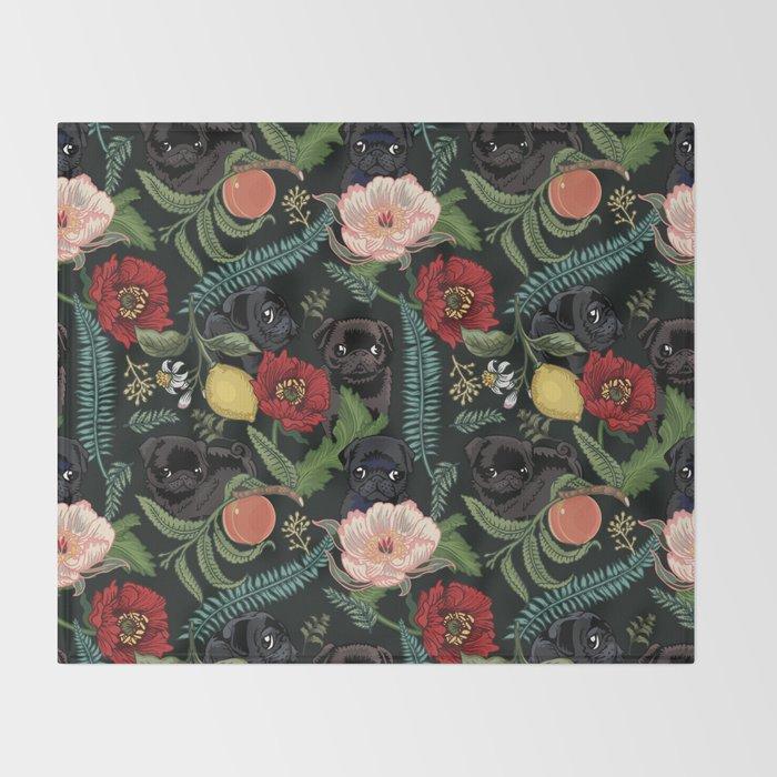 Botanical and Black Pugs Throw Blanket