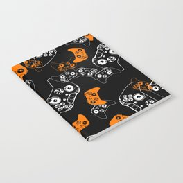 Video Game Orange on Black Notebook