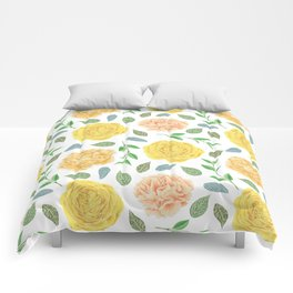 Hand painted yellow coral watercolor modern floral Comforters