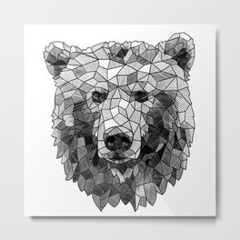 Sketchy Geometric Grizzly Bear Metal Print