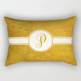 Monogram Letter P on Golden Textured Background Rectangular Pillow