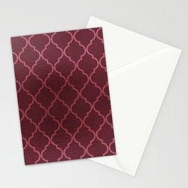 Elegant burgundy faux pink rose gold quatrefoil Stationery Cards