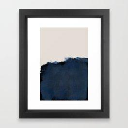 Abstract, blue, beige, indigo Framed Art Print