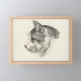Vintage Cat Illustration Framed Mini Art Print