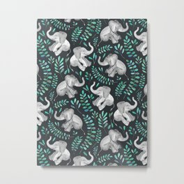 Laughing Baby Elephants – emerald and turquoise Metal Print