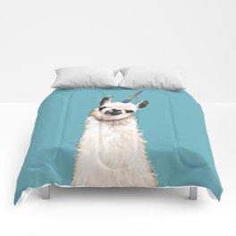 Unicorn Llama Blue Comforters